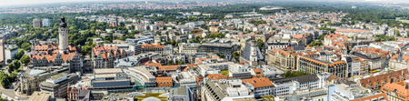 blue cloudy sky: Panoramic view of Leipzig under blue cloudy sky