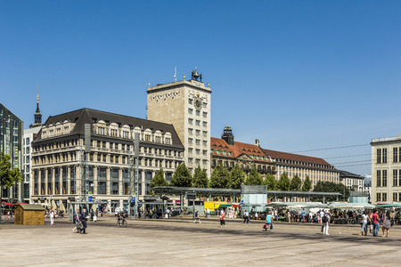 old town hall: LEIPZIG, GERMANY - AUG 8, 2015: Old Town Hall in Leipzig with people at marketplace. In about 1165, Leipzig was granted municipal status and market privileges.