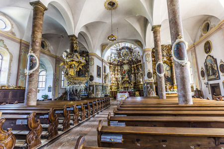 johannes: TRAUNKIRCHEN, AUSTRIA - APR 22, 2015: famous Trunesco abbey in  Traunkichen, Austria. The abbey was already in existance by 632 A.D.