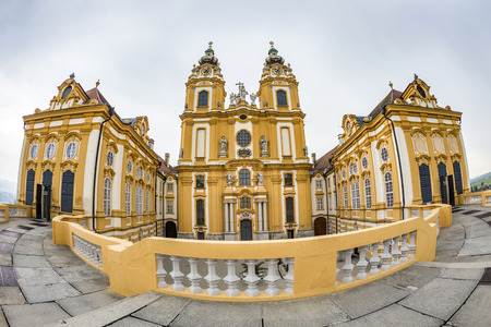 monastic site: MELK, AUSTRIA - APR 23, 2015: The baroque Melk Abbey Benedictine monastery (Stift Melk), part of the UNESCO World Heritage site of the Wachau Valley along the Danube river.