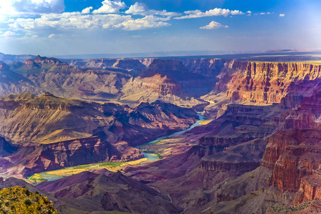 arizona sunset: Grand canyon at sunrise with river Colorado Stock Photo