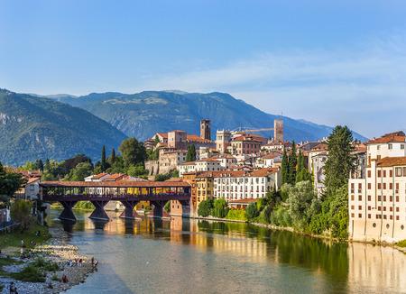 grappa: Old bridge in Bassano del grappa in Italy