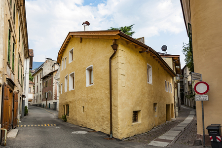 meran: typical old houses in famous village of Meran, Italy