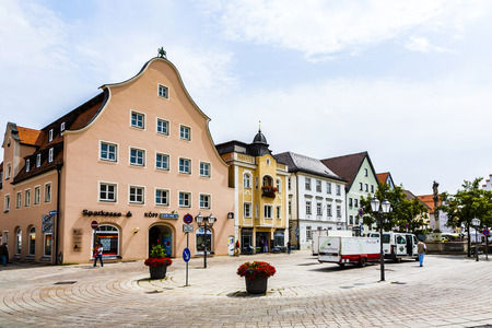 ludwig: SCHONGAU, GERMANY - JULY 31, 2015: famous old medieval town of Schongau, Germany. In 1331 SChongau got the right by Ludwig the Bavarian to publish own money.