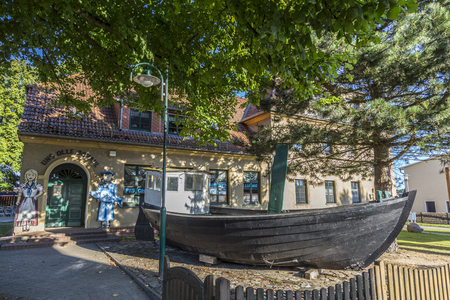 Zempin, GERMANY - AUG 13, 2015: fishing museum in the old town of Koserow in Usedom. Koserow was a former fishing village and the museum explains the past of the village.