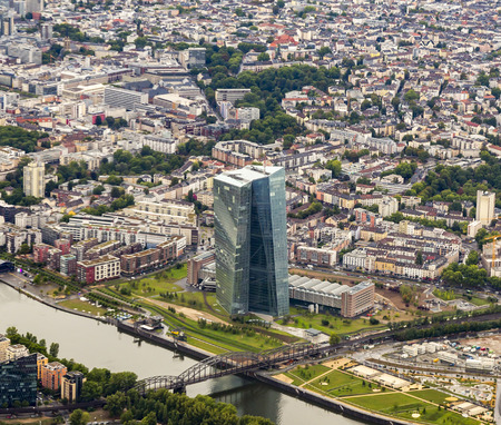 bridge construction: FRANKFURT AM MAIN, GERMANY - AUG 24, 2015: The new seat of the European Central Bank in Frankfurt am Main, Germany. A 185 165-metre-twin-skyscraper located east of the city centre.