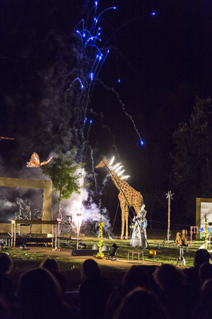 reloaded: ESCHBORN, GERMANY -AUG 21, 2015: the group Pyromantiker Berlin present a Firework in Eschborn , Germany with the title Versailles reloaded. Eschborn organises that summertime festival free of charge for everyone.