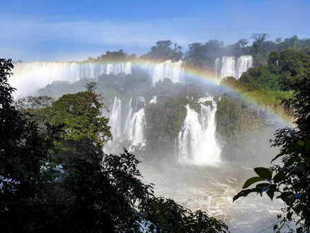 br: famous Iguazu waterfalls at Border of Brazil and Argentina