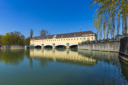 weir: Historic weir at the river Isar in Munich, Germany
