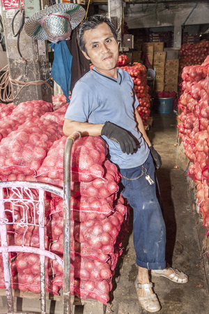BANGKOK, THAILAND - 12 mei: onbekende man vervoert zakken met uien in Bangkok, Thailand. De avondmarkt Pak Khlong Talat duurt unti 06:00 en mensen die werken in de nacht. Redactioneel