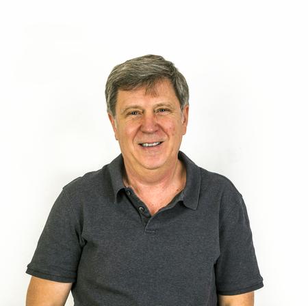 men face: portrait of happy looking handsome man in studio Stock Photo