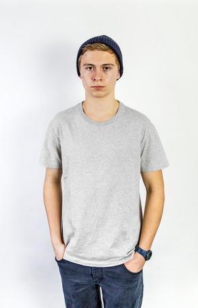 puberty: Portrait of a positive adolescent boy in puberty