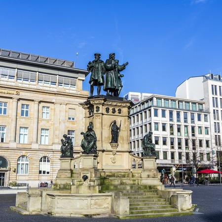 johannes: FRANKFURT, GERMANY -MAR 6, 2015: The Johannes Gutenberg monument on the southern Rossmarkt (1854 - 1858, by sculptor Eduard Schmidt von der Launitz) in  Frankfurt am Main, Germany.