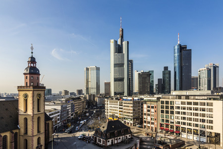 plazas: FRANKFURT AM MAIN, GERMANY - MAR 3, 2015: Aerial view of Frankfurt with Hauptwachen. The Hauptwache is a central point and one of the most famous plazas of Frankfurt.