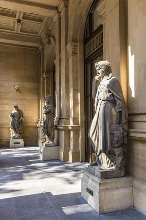 frankfurt stock exchange: historic statue at frankfurt stock exchange with the female greek godness Europe Stock Photo