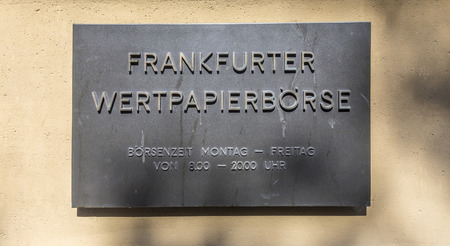frankfurt stock exchange: FRANKFURT, GERMANY - MARCH 29, 2014: sign Frankfurter Wertpapierboerse - German stock exchange in front of stock exchange in Frankfurt, Germany. Frankfurt Stock exchange is the most important in Germany.