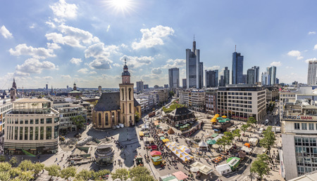 plazas: FRANKFURT AM MAIN, GERMANY - SEP 9, 2015: Aerial view of Frankfurt with Hauptwache. The Hauptwache is a central point and one of the most famous plazas of Frankfurt.