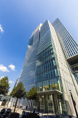 engel: FRANKFURT, GERMANY - SEP 11, 2015: famous skyscraper and Hotel Jumeirah in Frankfurt, Germany. Architects Engel and Zimmermann finalized the Jumeirah in April 2010. Editorial