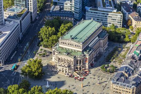 alte: FRANKFURT, GERMANY - SEP 11, 2015: aerial view: the Alte Oper (Old Opera House), in Frankfurt am Main, Germany.