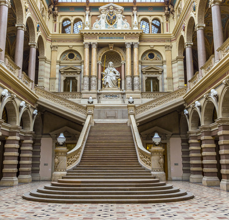 lady justice: VIENNA, AUSTRIA - APR 27, 2015: neo renaissance building of the palace of Justice in Vienna, Austria. The palace is the seat of the supreme court in Austria.