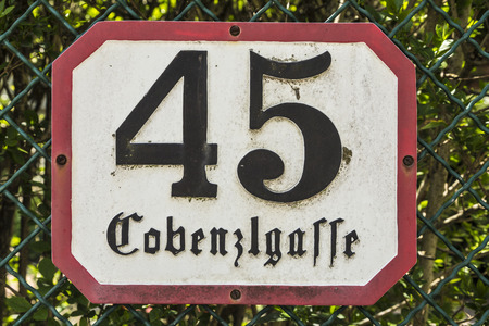45: house number 45 in the Cobenzlgasse in Vienna