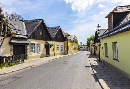 living idyll: narrow street in village of Grinzing in vienna in early morning light Stock Photo
