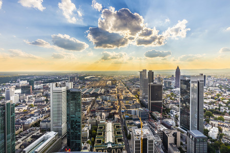 view to skyline of Frankfurt from platform at Maintower Stock Photo