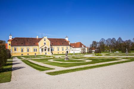 freising: old Schleissheim palace in Munich, Germany under blue sky
