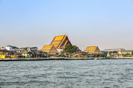chao phraya: Temple at the south bank of the river Mae Nam Chao Phraya in Bangkok Stock Photo