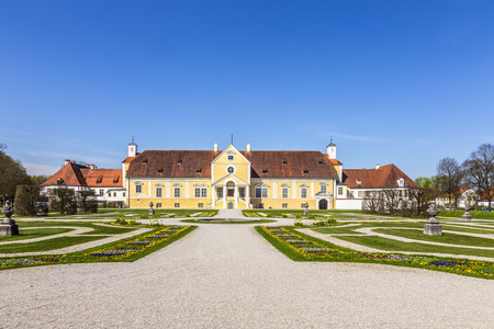 pompous: old Schleissheim palace in Munich, Germany under blue sky