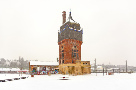 felix: WIESBADEN, GERMANY - DEC 19, 2009: old historic Watertower at the train Station in Wiesbaden, Germany. Felix Genzmer constructed the Watertower in 1902.