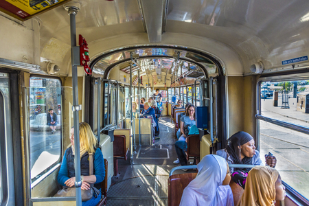 prater: VIENNA, AUSTRIA - APR 25 2015: people in the train at train Station Prater in Vienna, Austria. Vienna Praterstern is one of Viennas main railway stations, being used by 35,000 people daily.