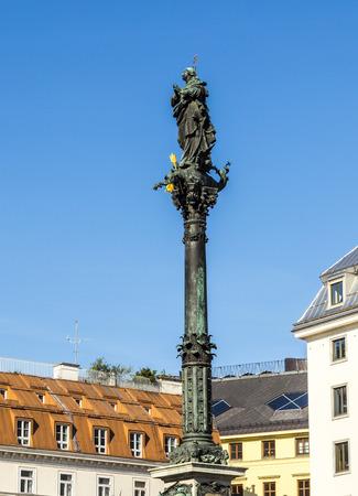 cherubs: marian column in vienna am Hof under blue sky