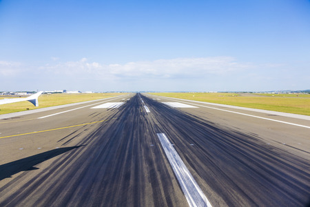 gaulle: rubber parts at the runway at Charles de Gaulle Stock Photo