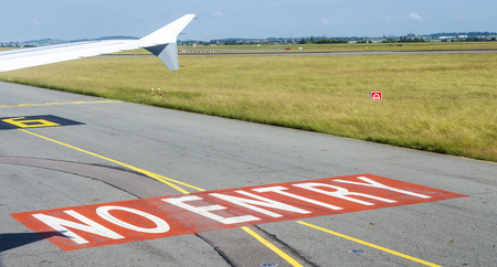 touch down: no entry sign at the runway at Charles de Gaulle