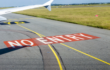 charles de gaulle: no entry sign at the runway at Charles de Gaulle