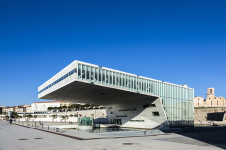ethnology: MARSEILLE, FRANCE - JUL 9, 2015 : The modern building of Museum of European and Mediterranean Civilizations (MuCEM). It was was inaugurated on 2013 when the city was the European Capital of Culture
