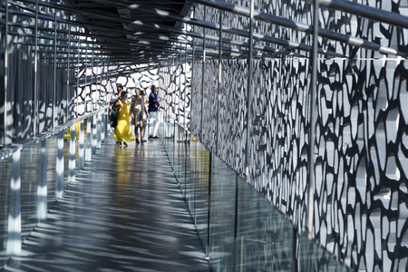 ethnology: MARSEILLE, FRANCE - MAY 11, 2015 : people visit the modern building of Museum of European and Mediterranean Civilizations (MuCEM). It was was inaugurated on 2013 when the city was the European Capital of Culture