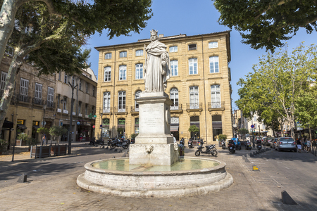 en: AIX EN PROVENCE, FRANCE - famous fountain du Roi Rene in Aix en Provence, France. The king (1409 - 1480) made Aix famed as a center of learning and art. Editorial