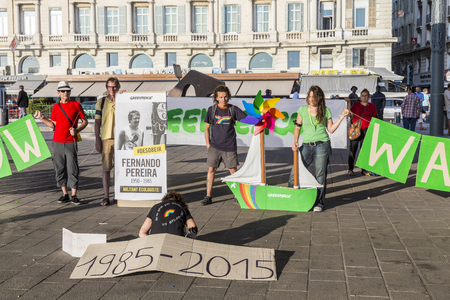 greenpeace: MARSEILLE, FRANCE, JULY 10, 2015: Greenpeace organisation protests against murder of Fernando Pereira in Marseille, France. Pereira was killed by the French intelligence in 1985.