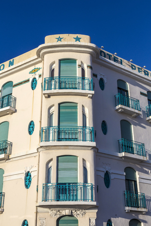 peron: MARSEILLE, FRANCE - JUL 9, 2015 : facade of old Hotel Peron in Marseille, France. The hotel is situated at the Corniche and offers spendid view to the coast. It has the charme of ancient times.