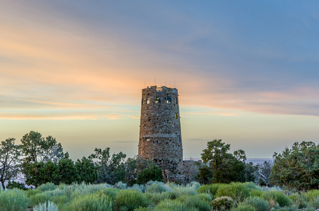concession: GRAND CANYON, USA - JULY 10, 2008: desert view watchtower in sunset at Grand Canyon. The watchtower was the last of Mary Colter-designed visitor concession structures built in 1930. Editorial