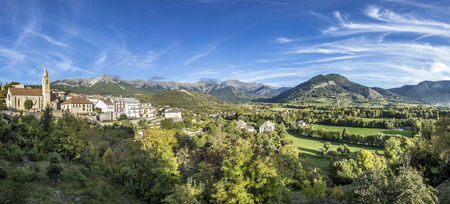 Alpes: skyline of Seyne les Alpes in the french Region provence des haut alpes Stock Photo