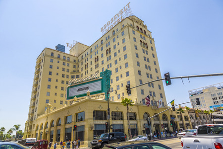 roosevelt hotel: HOLLYWOOD, USA - JULY 5, 2008: facade of famous historic Roosevelt Hotel in Hollywood, USA. It first opened on May 15, 1927. It is now managed by Thompson Hotels. Editorial