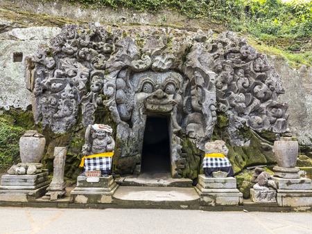 gua: Cave mouth at Goa Gajah temple in Bali