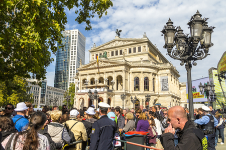oper: FRANKFURT, GERMANY - OCT 3, 2015: one million people watch the celebration of 25th day of German unity in Frankfurt, Germany.