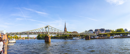 river main: FRANKFURT, GERMANY - OCT 3, 2015: one million people celebrate the 25th day of German unity at river main in Frankfurt, Germany.