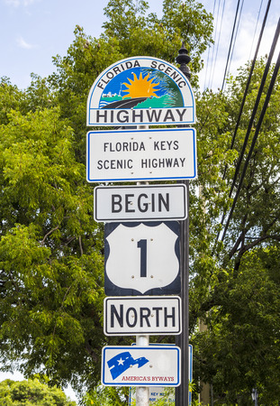 highway sign: Mile Zero in Key West, highway sign No1 Florida keys