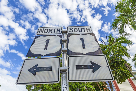 no1: Mile Zero in Key West, highway sign No1 Florida keys,direction south and north