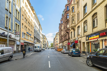 FRANKFURT, GERMANY- MAR 25, 2015: Frankfurt am Main downtown street view in Frankfurt, Germany. It's the largest city in the German state of Hessen and the fifth-largest city in Germany
